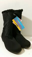 NEW Womens Totes Chromatics Black Snowflake Zipper Winter Boots  Size 10W