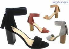 NEW Women's Fashion  Ankle Strap Chunky Heel Zipper Sandals Shoes Size 6 - 10