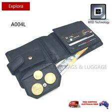 FUTURA RFID Blocking Leather Secure Wallet with Credit Card Flap Coin Purse A004