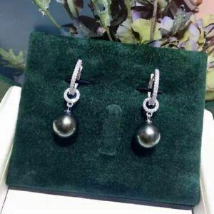 Fashion AAA+ 10-11mm natural Black green Tahitian Round Pearl Hook Earrings