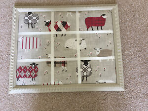SHEEP THEMED FABRIC COVERED MEMO/NOTICE BOARD - FRAME SURROUND - UPCYCLED