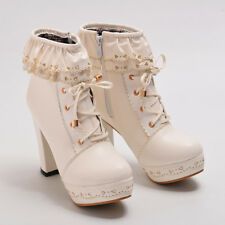Sweet Lolita Women's Chunky High Heel Cosplay Party Shoes PU Lace Up Ankle Boots