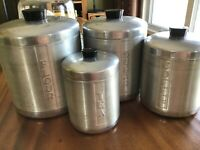 Vintage Set of 4 Aluminum Canister Set - Sugar, Flour, Coffee, Tea See Pictures.