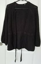 Tahari Womens Charcoal Gray Open Front Cardigan Sweater Size M Top