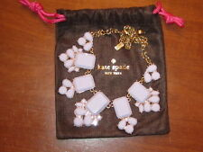 NWoT KATE SPADE lilac + gold BIB statement NECKLACE w/ LOGO Storage Pouch