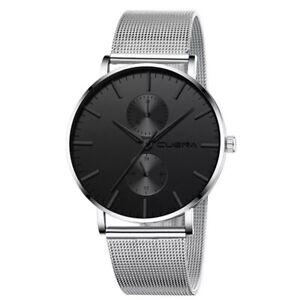 Mens Watches Quartz Analogue Mesh Strap Wrist Watch Fashion Casual S steel UK