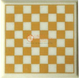 White Marble Chess Customize Indoor Game Yellow Inlay Stone Mosaic Arts Decor