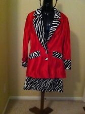 Red Women's Hooker Halloween Costume Pimpette Sugar Mama Jacket Skirt Large