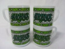 VINTAGE  FEDERAL GLASS SET OF 4 ARBY'S GREEN STAINED GLASS MILK GLASS CUPS MUGS