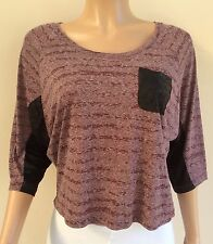 M&S Limited Collection Purple Marl Black Slouch Top Size 12  JT55