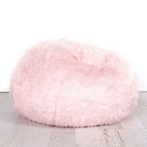 New Ivory & Deene Soft Pink Fur Beanbag Cover Bedroom Luxury Polo Bean Bag Chair