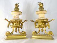 Ancienne Paire de Cassolettes XIXè Style LOUIS XVI Marbre et Bronze Doré 32cm