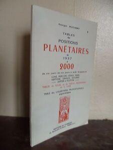 G.MUCHERY TABLES DES POSITIONS PLANETAIRES DE 1937 A 2000/1917/DU CHARIOT PARIS