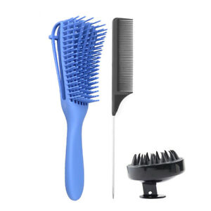3pcs Detangling Brush Comb Set Stainless Steel Handle Hair Comb for Curly P5B3