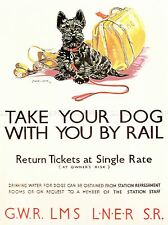 TRAVEL POLICY DOGS RAIL TRAIN SCOTTISH TERRIER SPORT BAG UK PRINT LV4423