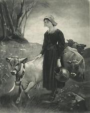 ANTIQUE JERSEY DAIRY COW PRETTY MILK MAID JUG FLOWERS EVANGELINE OLD ART PRINT