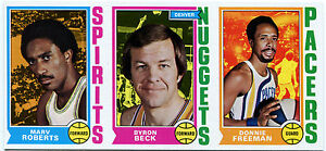 1974-75 Topps DONNIE FREEMAN BYRON BECK Blank Back Uncut Sheet Strip Vault COA