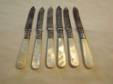 VINTAGE 1800S 6 LAMSON  GOODMAN S FALLS MA MOTHER of PEARL STERLING FRUIT KNIVES