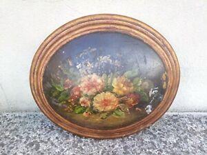 Piccolo Quadro Quadretto Ovale In Legno dipinto a mano Con fiori