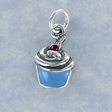 Blue Enamel Cupcake Charm Sterling Silver for Bracelet Frosting Cherry Birthday