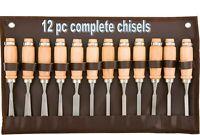 "12pc WOOD CARVING CHISEL TOOL SET Wood Handles 7-1/2"" hardened mini lathe tools"