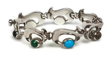 Vintage Chunky Taxco Mexican  Silver Bracelet Cabochons Heavy Modernist 925