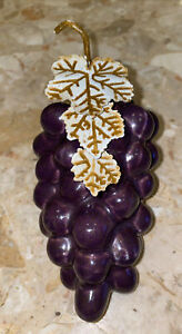 """Vintage Ceramic Purple Bunch of Grapes With  Metal Leaves Fruit 7.5x3.5"""""""