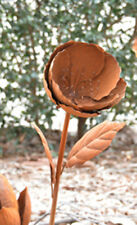 Rusty Poppy Metal Flower 97cm