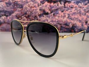 🔥 Gucci GG0062S 011 Aviator Black Gold Sunglasses Gray Lens Oversize Unisex
