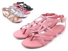 57bdd0538b8 Mauve Thong Gladiator Rhinestones Buckle Closure Womens Flat Sandals Size 8