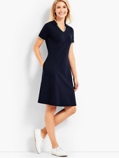 TALBOTS NAVY BLUE SHORT SLEEVE SPLIT NECK UPF 50 PIQUE POLO DRESS PLUS Sz 2X