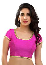 Magenta Polyester Silk Blouse Top Choli Dress Bollywood Traditional Saree TUNIC