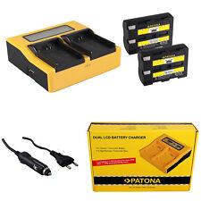 2x Batteria Patona + caricabatteria rapido DUAL LCD per Minolta Dynax 7d
