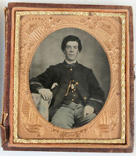 CIVIL WAR AMBROTYPE, RUBY GLASS, TINTED, GILDED. 1/6 PLATE, FULL CASE. SHARP.