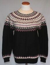 Vintage Dale of Norway Wool Sweater 42 Medium Navy Blue Pink Mockneck T17
