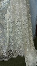 1MTR WHITE SCALLOPED EGDES  EMBROIDERED TULLE NET FABRIC 52IN WIDE