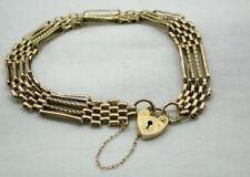 Lovely 9 carat Gold Four Bar Gate Bracelet With Heart Padlock Fastener