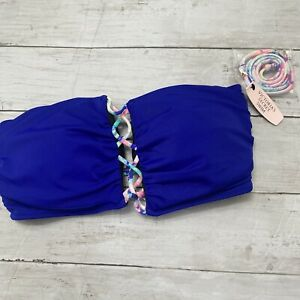 Victorias Secret Swim Stappy Halter Sz M Wireless Bikini Top Blue Tie Dye Cord