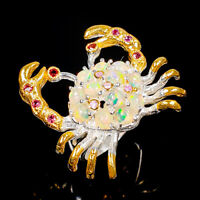 Opal Ring Silver 925 Sterling Crab jewelry Design Size 8 /R145129