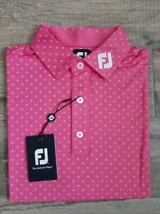 NEW FootJoy Mens Lisle Diamond Print Golf Polo Small Island Pink 25723