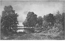 """Theodore Rousseau 1812-1867 Engraving """"La Mare dans la Foret"""""""