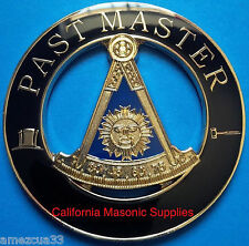 Past Master Masonic Auto Emblem FreeMasonry  Decal  Lodge Mason Golden & Black