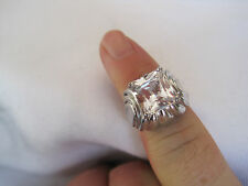 Gorgeous Silver-Tone Ring, Huge CZ or Crystal Stone, Lots of Sparkle!  Size 6.75