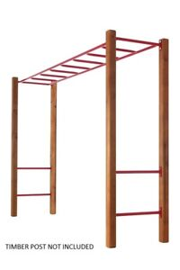 MONKEY BARS WITH 4 RUNGS - RED Climbing Cubby House Playground Equipment