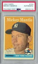 1958 Mickey Mantle Signed Auto Topps #150 Yankees Base PSA/DNA Slabbed