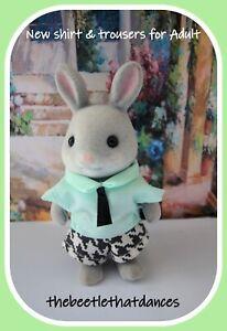 Sylvanian Families Clothes, New Trousers B Shirt & Tie for Adult Cat, Rabbit ETC