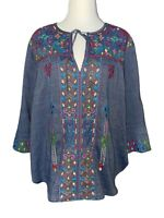 JOHNNY WAS 3J Workshop Womens Top Medium Blue Chambray Embroidery Peasant