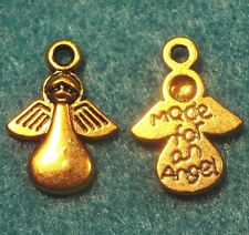 """50Pcs. WHOLESALE Tibetan Antique Gold """"Made For An Angel""""  ANGEL Charm Tag Q0082"""