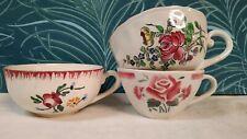 3 Tasses à Café Ancienne Sarreguemines Badonviller Lunéville décor de roses