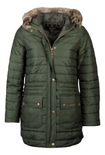 NEW Barbour Ladies Ascott Warm Insulated Quilted Jacket Hooded Green Size UK 16